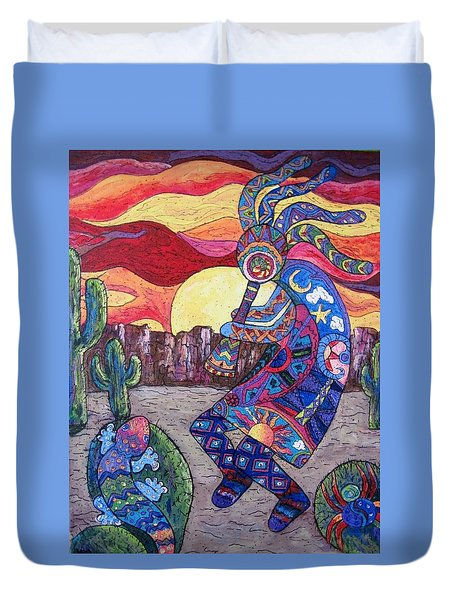 Kokopelli  Duvet Cover by Megan Walsh