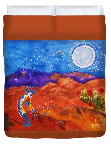 Kokopelli Playing To The Moon Duvet Cover