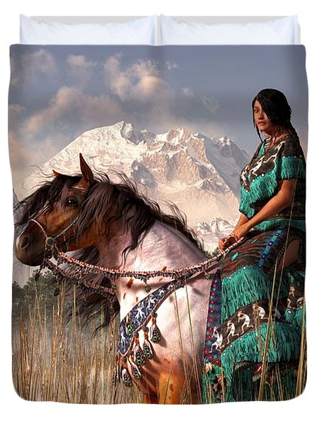 Duvet Cover featuring the digital art Kokopelmana by Daniel Eskridge