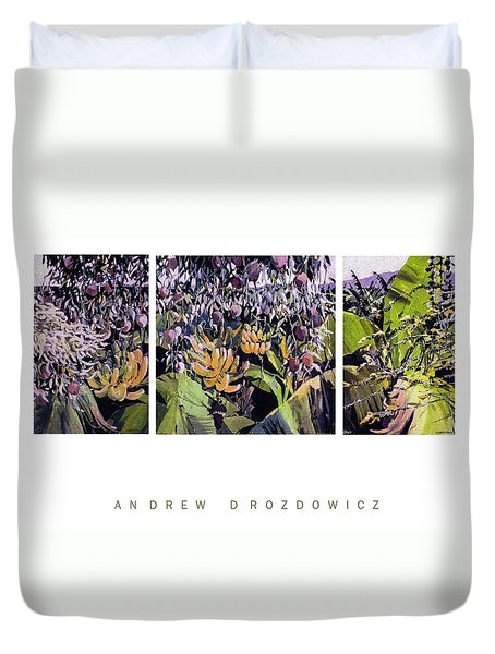 Duvet Cover featuring the painting Kona Garden by Andrew Drozdowicz