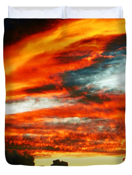 Duvet Cover featuring the photograph Kona Sunset 77 Lava In The Sky  by David Lawson