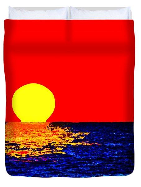 Kona Sunset Pop Art Duvet Cover