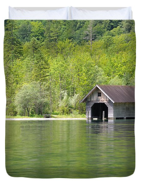 Duvet Cover featuring the photograph Konigsee Boathouse by Jeremy Voisey