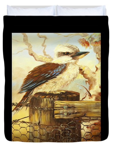 Kookaburra On Fence Duvet Cover