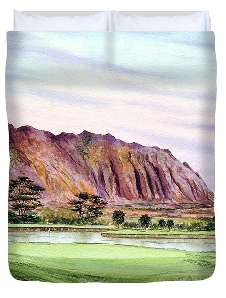 Koolau Golf Course Hawaii 16th Hole Duvet Cover by Bill Holkham