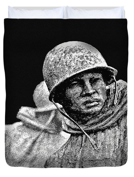 Duvet Cover featuring the painting Korean War Veterans Memorial by Bob and Nadine Johnston