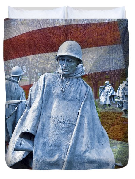 Korean War Veterans Memorial Bronze Sculpture American Flag Duvet Cover by David Zanzinger
