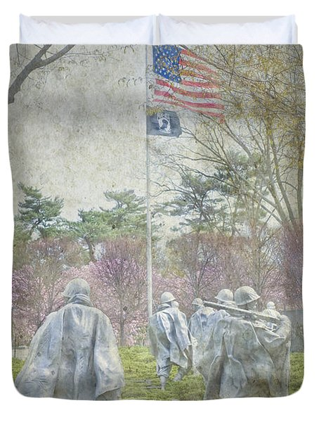 Korean War Veterans Memorial Washington Dc Beautiful Unique   Duvet Cover by David Zanzinger