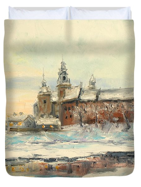 Krakow - Wawel Castle Winter Duvet Cover