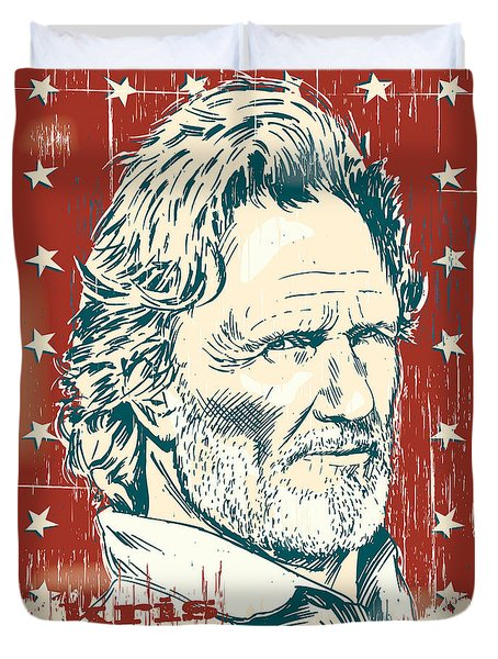 Kris Kristofferson Pop Art Duvet Cover by Jim Zahniser