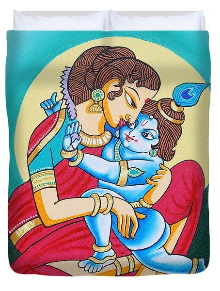 Duvet Cover featuring the painting Krishna And Yashodha - Infinitive Love by Ragunath Venkatraman