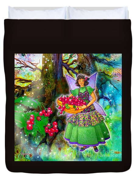 Duvet Cover featuring the painting Krissy Woodwillow Cranberry Fairy by Teresa Ascone