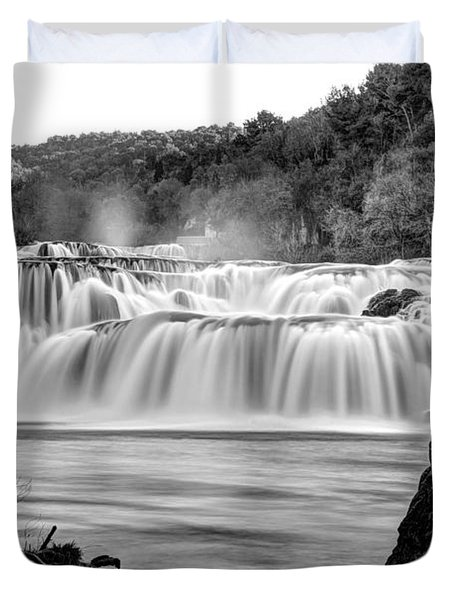 Krka Waterfalls Bw Duvet Cover