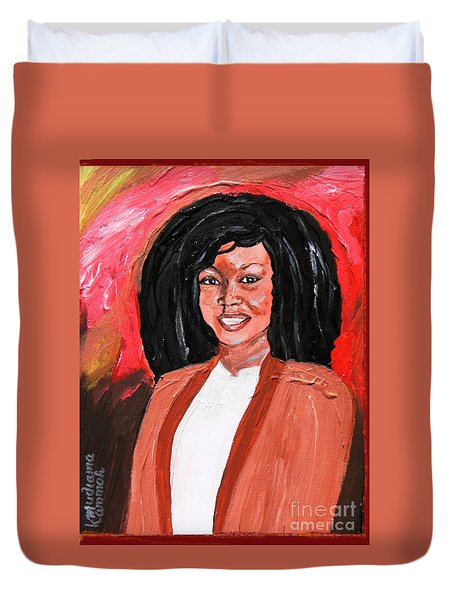 Duvet Cover featuring the painting Kula - Sierra Leonecentric - Croydonite by Mudiama Kammoh