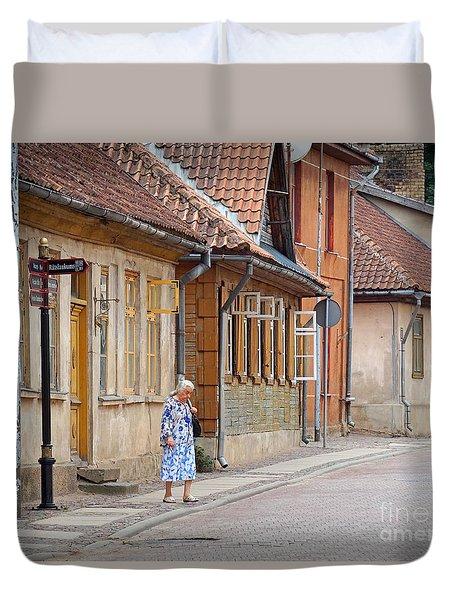 Kuldiga Street Crossing Duvet Cover
