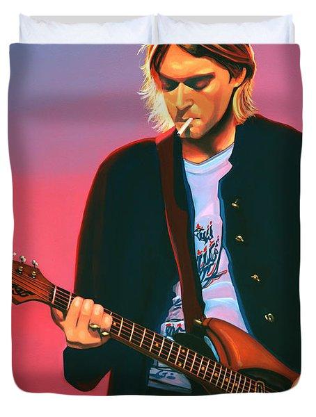Kurt Cobain In Nirvana Painting Duvet Cover