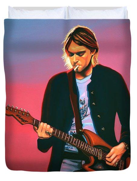 Kurt Cobain In Nirvana Painting Duvet Cover by Paul Meijering