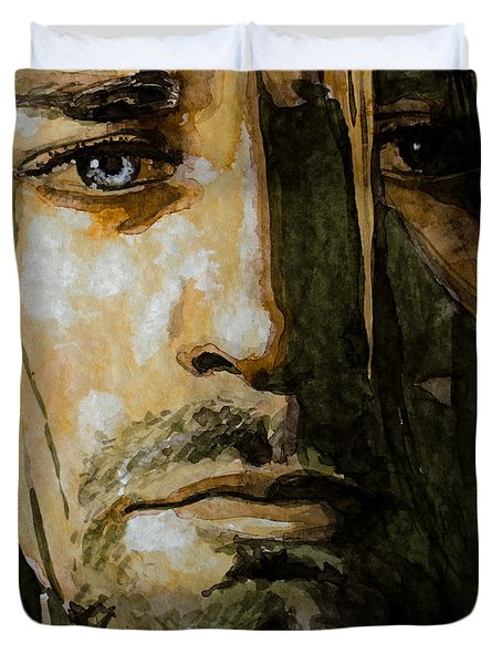Duvet Cover featuring the painting Kurt Cobain by Laur Iduc