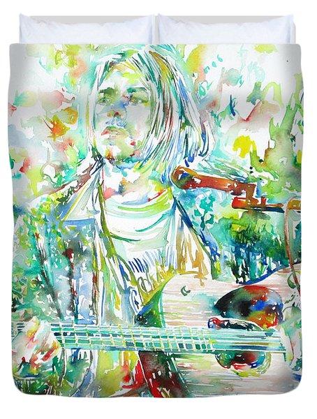 Kurt Cobain Playing The Guitar - Watercolor Portrait Duvet Cover