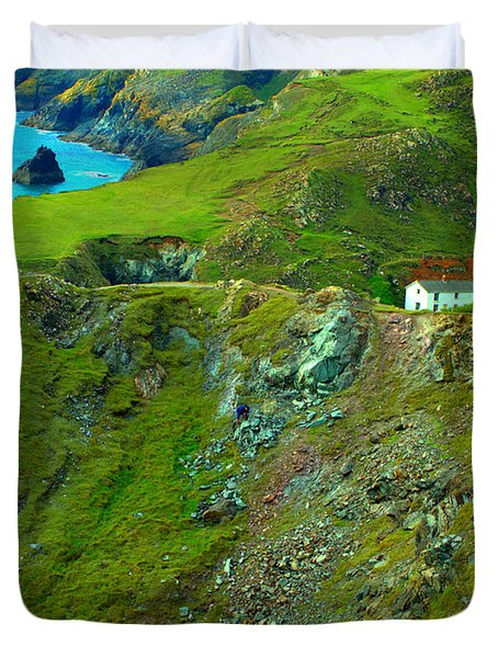 Duvet Cover featuring the photograph Kynance Cove by Rachel Mirror