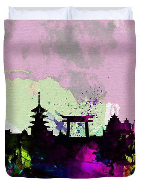 Kyoto Watercolor Skyline Duvet Cover