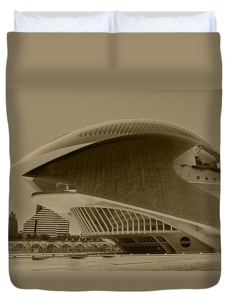 Duvet Cover featuring the photograph L' Hemisferic - Valencia by Juergen Weiss