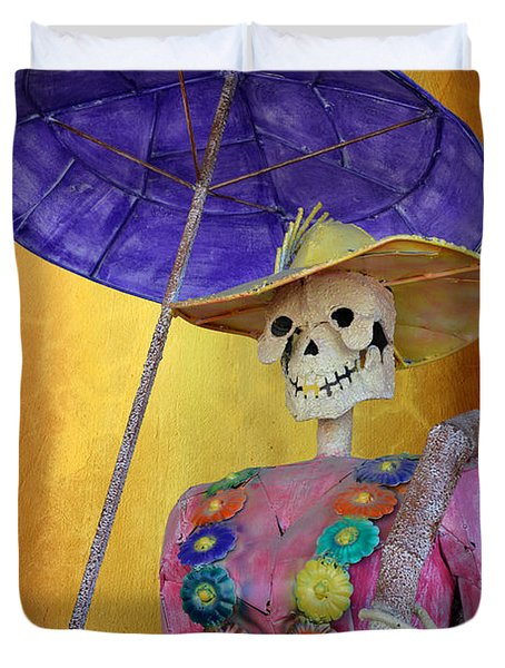 Duvet Cover featuring the photograph La Catrina With Purple Umbrella by Christine Till