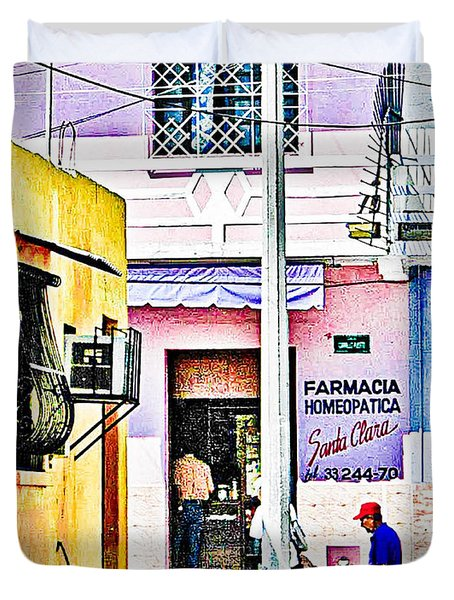 Duvet Cover featuring the photograph La Farmacia by Jim Thompson
