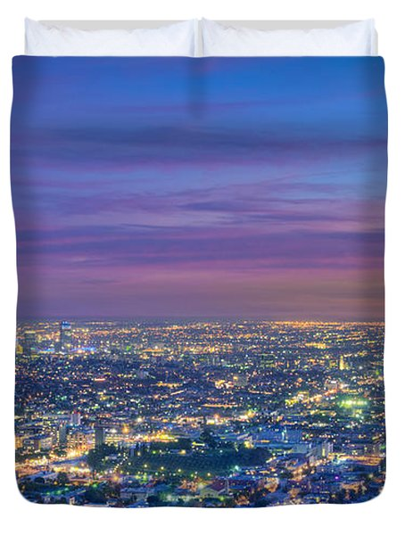 La Fiery Sunset Cityscape Skyline Duvet Cover by David Zanzinger