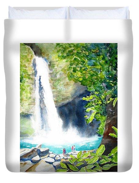 La Fortuna Waterfall Duvet Cover by Carlin Blahnik