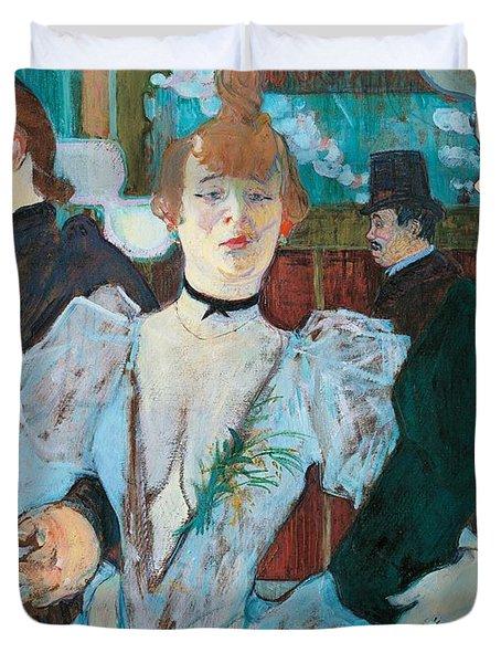 La Goulue Arriving At Moulin Rouge With Two Women Duvet Cover by Henri de Toulouse Lautrec