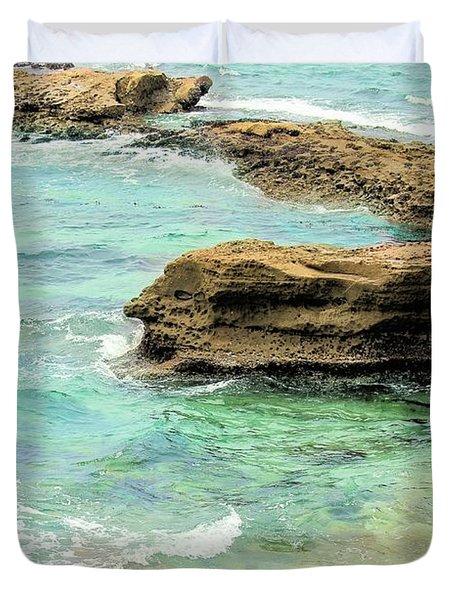 La Jolla Beach Rocks Duvet Cover