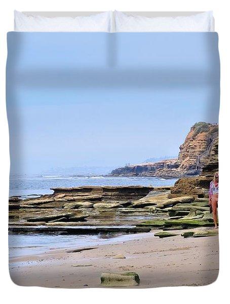La Jolla Beach Walk Duvet Cover