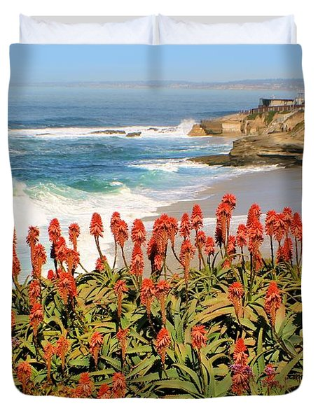 La Jolla Coast With Flowers Blooming Duvet Cover
