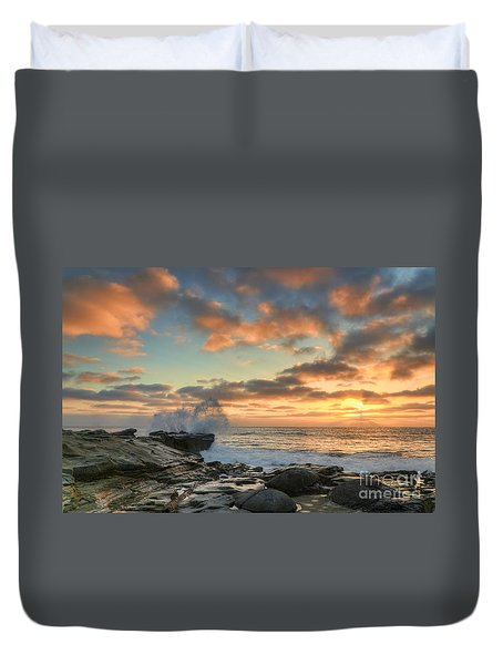 La Jolla Cove At Sunset Duvet Cover