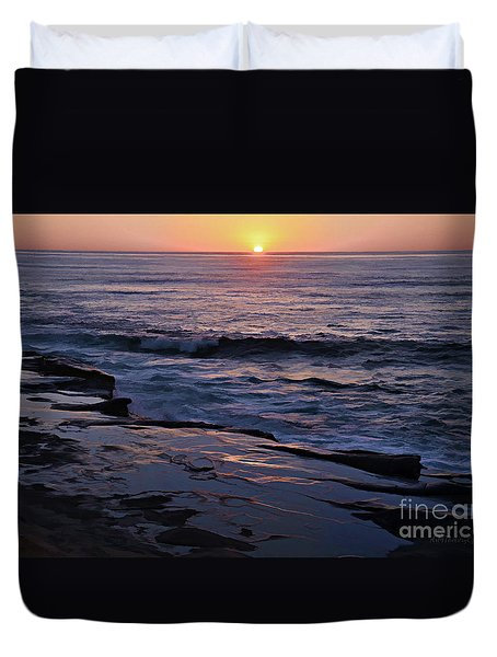 La Jolla Sunset Reflection Duvet Cover