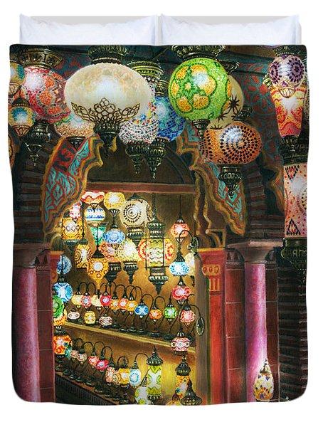 La Lamparareia En La Noche Albacin Granada Duvet Cover by Richard Harpum