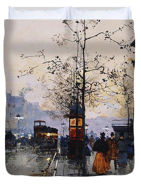 La Madeleine Paris Duvet Cover by Eugene Galien-Laloue