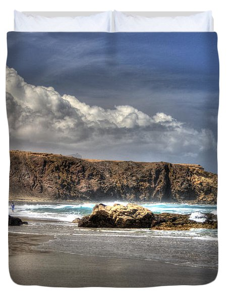 Duvet Cover featuring the photograph La Pared Cliff And Rocky Beach On Fuertaventura Island by Julis Simo