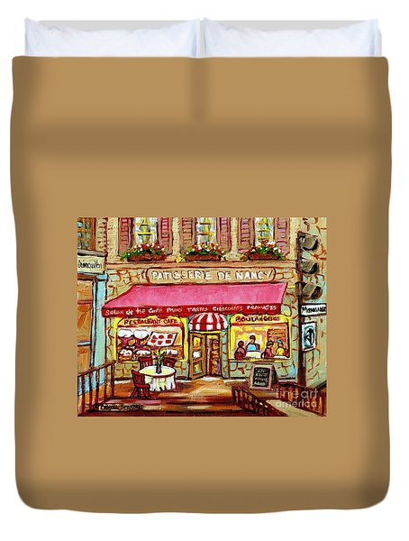 La Patisserie De Nancy French Pastry Boulangerie Paris Style Sidewalk Cafe Paintings Cityscene Art C Duvet Cover