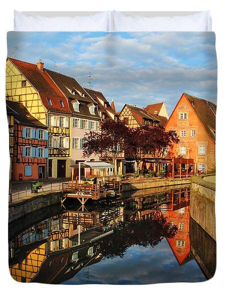 La Petite Venice Reflections In Colmar France Duvet Cover by Greg Matchick
