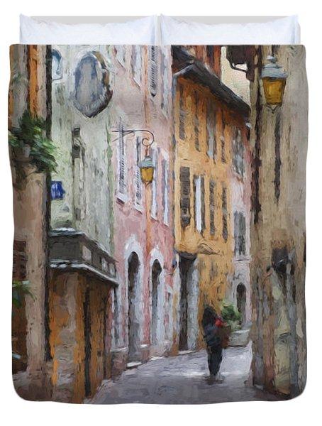 La Pietonne A Annecy - France Duvet Cover by Jean-Pierre Ducondi
