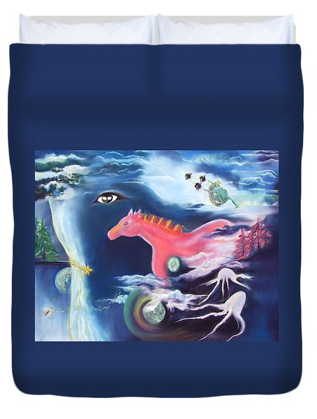 La Reverie Du Cheval Rose Or Dream Quest Of The Pink Horse. Duvet Cover by Marie-Claire Dole