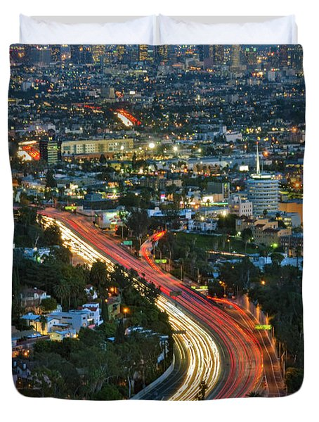 La Skyline Night Magic Hour Dusk Streaking Tail Lights Freeway Duvet Cover by David Zanzinger