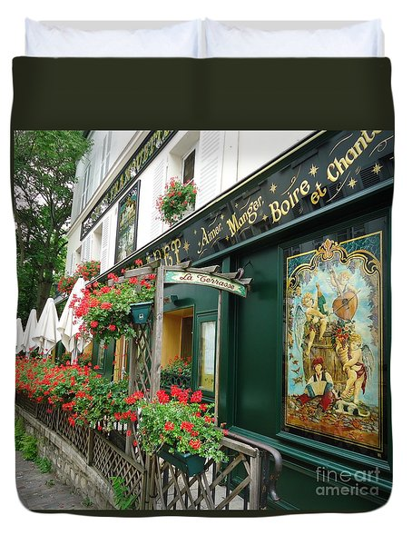 La Terrasse In Montmartre Duvet Cover by Barbie Corbett-Newmin