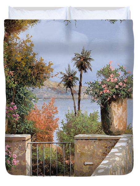 La Terrazza Un Vaso Due Palme Duvet Cover by Guido Borelli