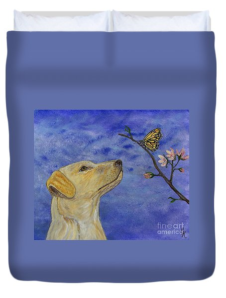 Duvet Cover featuring the painting Labrador Enchanted by Ella Kaye Dickey