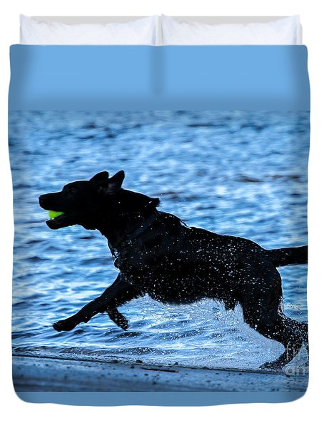 Duvet Cover featuring the photograph Labrador On The Run by Eleanor Abramson