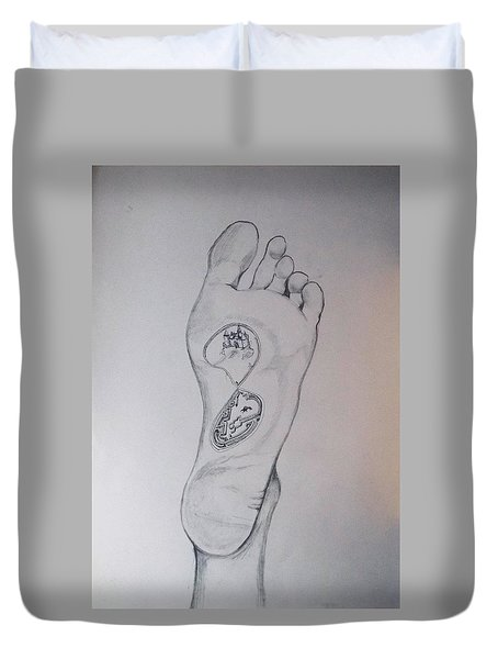 Duvet Cover featuring the drawing Labyrinth Foot Pie Laberinto by Lazaro Hurtado