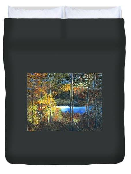 Duvet Cover featuring the painting Lac Fortune Gatineau Park Quebec by LaVonne Hand